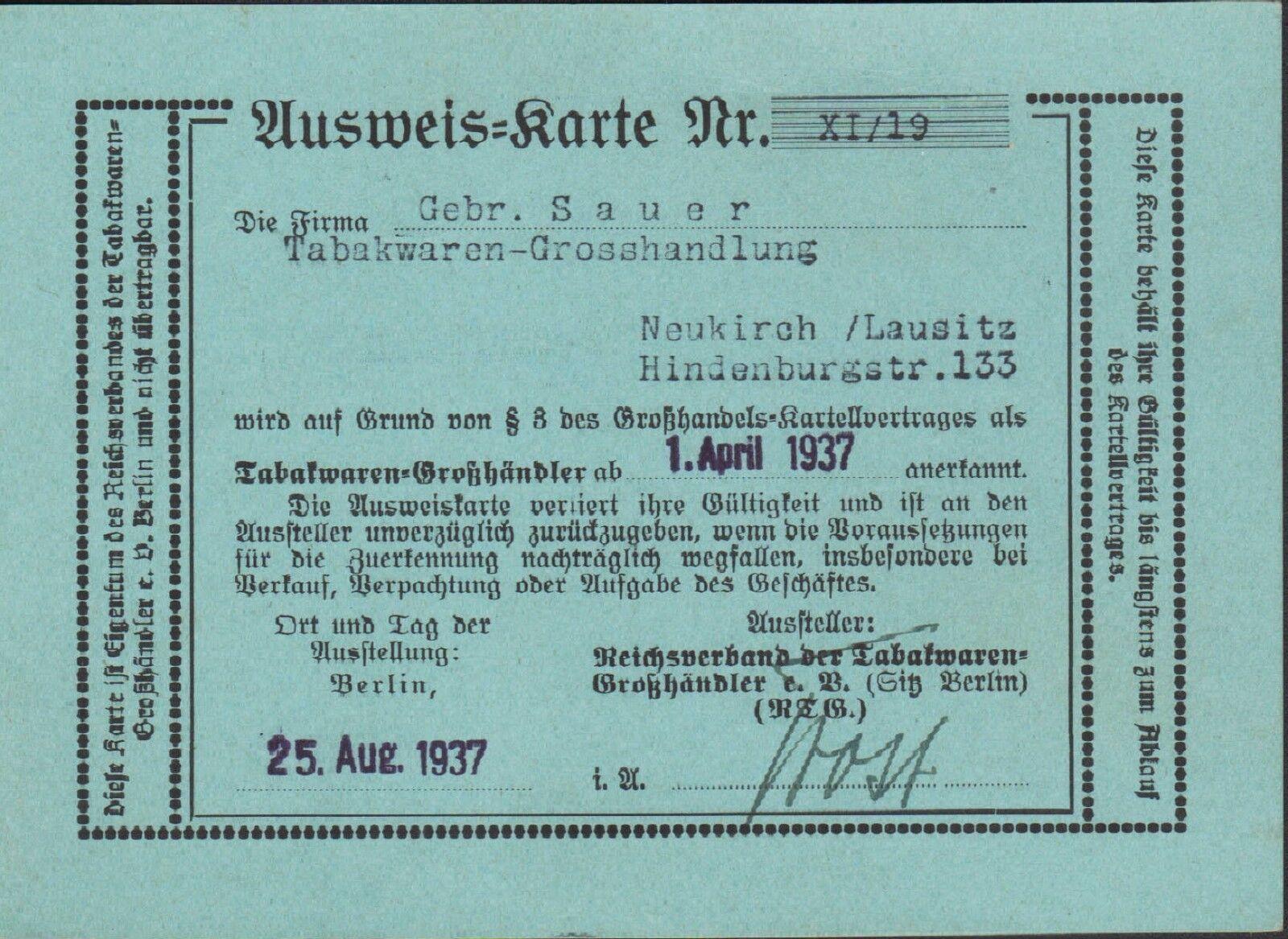 BERLIN, Ausweis-Karte 1937, Tabak-Waren-Großhändler NEUKIRCH/LAUSITZ