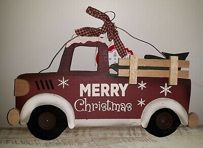 Red Truck with Christmas Tree Wood Wall Hanging Sign Decor New!