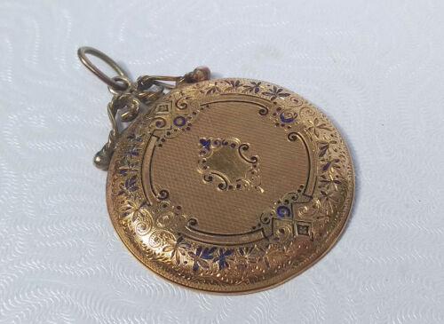Antique 18kt Yellow Gold & Enamel Pocket Watch Case Cover Pendant 6g
