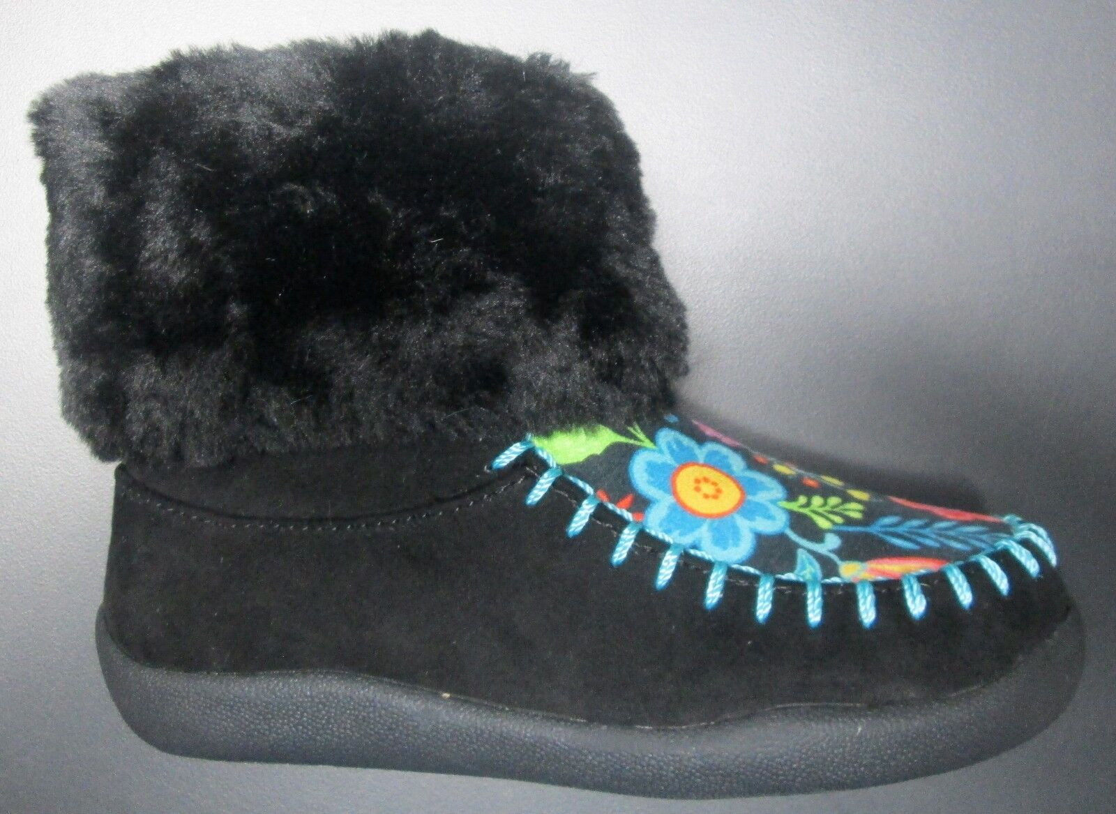 NEW TODDLER GIRL CHOOZE SHOES BLACK SUEDE/FUR TRIMMED BOOTS w/FLOWERS SZ 9 1