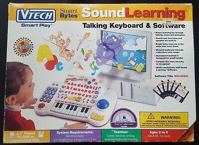 Vtech Smart Play Smart Bytes Sound Learning Talking Keyboard & Software -Vintage