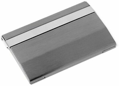 Vertical Slim Brushed Silver Wide Metal Business Card Holder