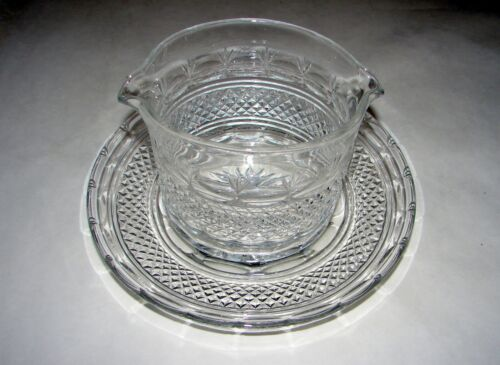 Antique Wine Rinser with Underplate Cut Glass Crystal Ireland England