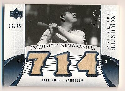 BABE RUTH 2006 Exquisite Memorabilia TRIPLE JERSEY RELIC /45 NY YANKEES HOF for sale  USA