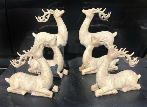Carved Birch Reindeer Deer Figurines Holiday Christmas Figurines Collectible Set