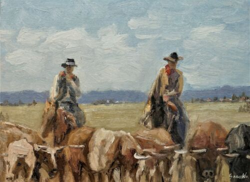 Sean Wu original oil painting 12x16 on canvas board, cowboy