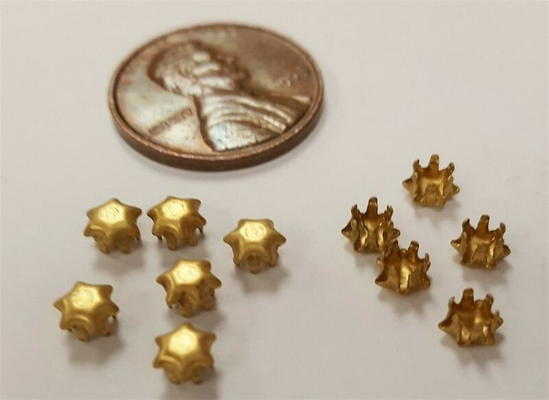 24 VINTAGE SOLID BRASS 6 PRONG 3.5mm. RHINESTONE SETTING FINDINGS  2405