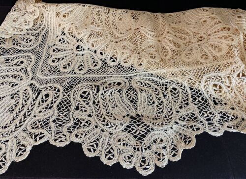 """Extra Long Vintage Antique Cluny Lace Silk Runner 24"""" x 100""""  WW57"""