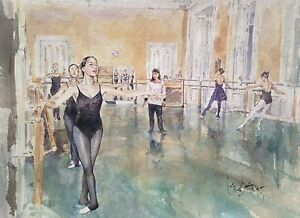RARE-GORDON-KING-ORIGINAL-Ballet-School-Swan-Lake-Dance-WATERCOLOUR-PAINTING