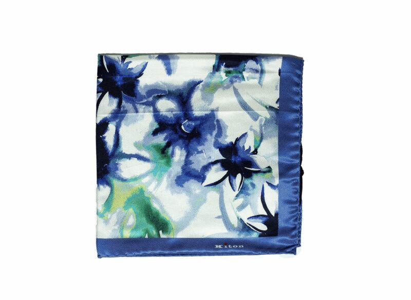 Kiton Napoli Printed Silk Pocket Square ~ Made in Italy
