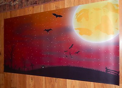 Big 20x40 Orange FULL Moon GRAVEYARD Background Halloween Dept 56 village poster
