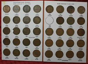 *****1964 AUSTRALIAN PENNY ALBUM SET COMPLETE EXCEPT FOR 1930 Morley Bayswater Area Preview