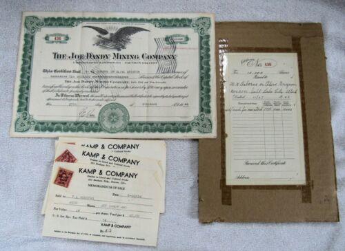 Joe Dandy Mining Co Cripple Creek Colorado Gold Mine Mining Stock Certificate