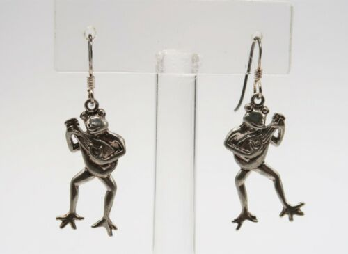 Vintage 925 sterling silver frogs with banjos dangle earrings