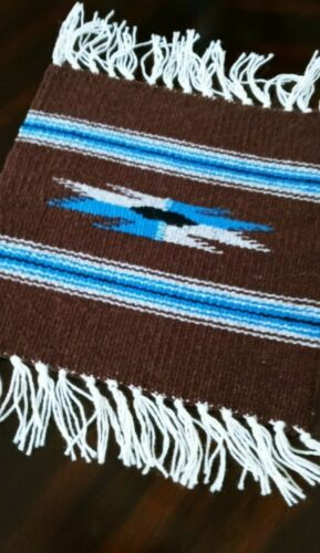 """Handcrafted Southwestern Chimayo Weaving Textile Placemat 10""""x10"""" New Mexico"""