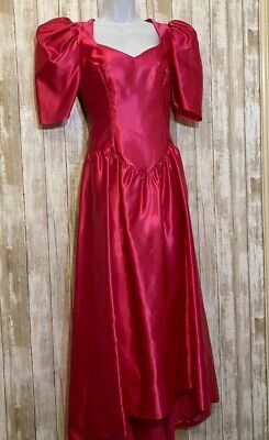 80s Dresses | Casual to Party Dresses Vtg 80s Alfred Angelo Prom Dress Pink Renaissance Waist Bow Open Back Size M 6-8 $28.50 AT vintagedancer.com