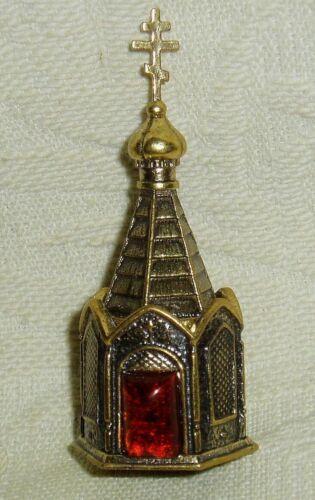 Russian Сollectible Decorative Brass Thimble Chapel Baltic amber Little church