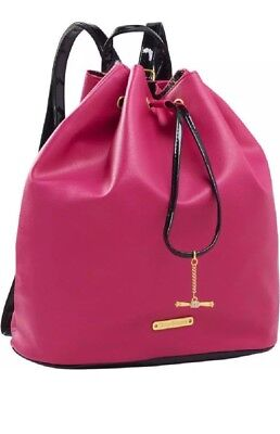 (Juicy Couture Pink Faux Leather Drawstring Backpack Bag/Purse Shopping. NWT)