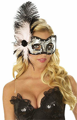 PINK CAT EYES FEATHER MARDI GRAS MASK SILVER SEQUIN MASQUERADE COSTUME MASKS - Mardi Gras Cat Mask