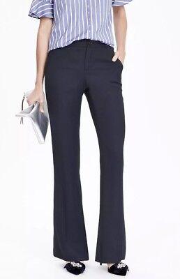 Banana Republic Size 0 Basket Weave Flare Pants Navy Blue NWT