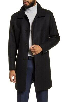 TIGER OF SWEDEN Cunning Slim Fit Wool Blend Overcoat Black Size 50
