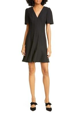 NWT Kate Spade Size 10 Panel Crepe A-line Solid Black Dress $348 Short Sleeve