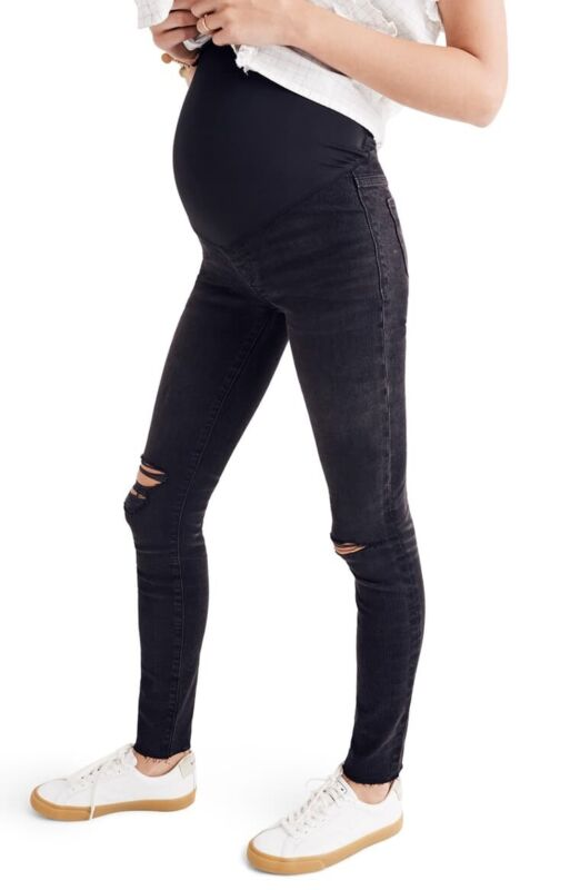 New Madewell Maternity Over-the-Belly Skinny Jeans in Black Sea Sz 26 G7394