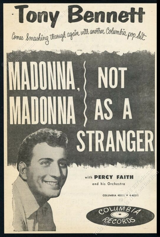 1954 Tony Bennett photo Madonna Madonna record release BIG trade print ad