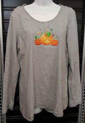 Halloween Holiday Edition (Holiday Edition Womens Size Large HALLOWEEN Shirt PUMPKIN SEQUINS Jack O Lantern)