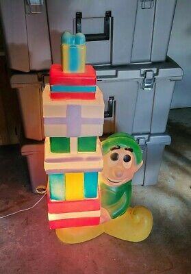 "Christmas Blow Mold 34"" Elf Presents Gifts Outside Yard Decoration Gen. Foam VTG"