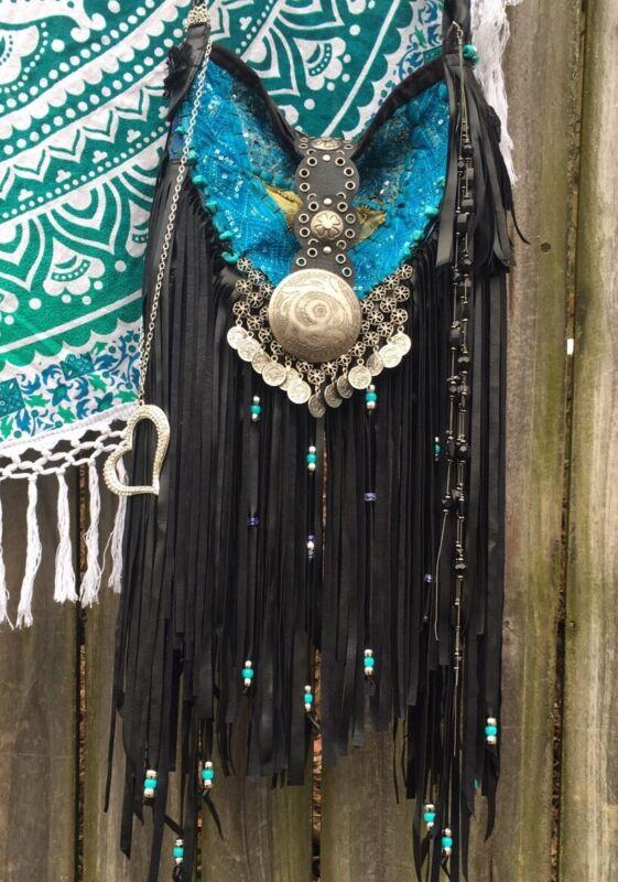 Handmade Vegan Leather Fringe Bag Boho Hobo Gypsy Black & Turquoise purse B.Joy