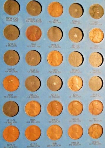 LINCOLN CENT PART SET: 65 DIFFERENT DATES 1909 TO 1940PDS IN A FOLDER
