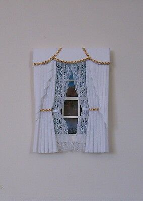 DOLLSHOUSE CURTAINS WHITE & GOLD  SWAG WITH TIED NETS