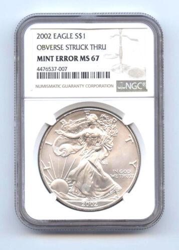 2002 $1 Silver Eagle Obverse Struck Thru-ngc Ms67-rare-mint Error