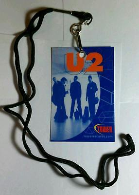 U2 PHOTO TOWER RECORDS .COM BONO MUSIC TAG LAMINATE WITH LANYARD