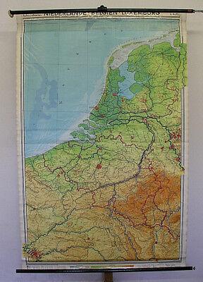 Schulwandkarte Beautiful Benelux 135x206c Vintage Netherlands Belgium Belgique
