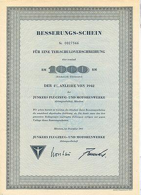 München Bayern Besserungsschein Junkers- und Motorenwerke Dessau 1960
