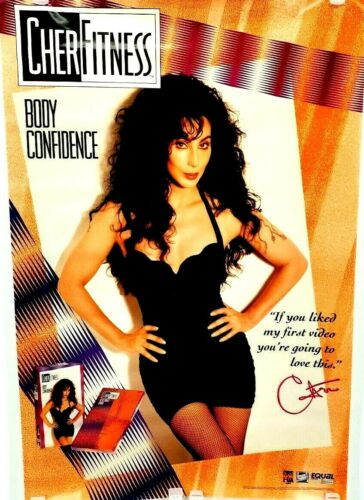 VINTAGE POSTER Cher Fitness 1992 CBS FOX Video Body Confidence Rolled S/S