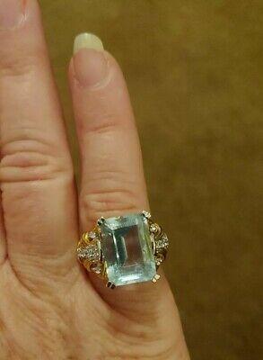 Pale Blue Cut Aquamarine Stone Gold Tone .925 STERLING SILVER RING