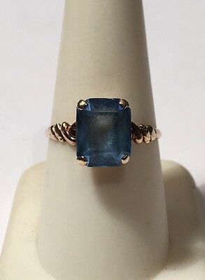 Vintage 10k Yellow Gold 3ct Solitaire Blue Topaz Ring Sz 8