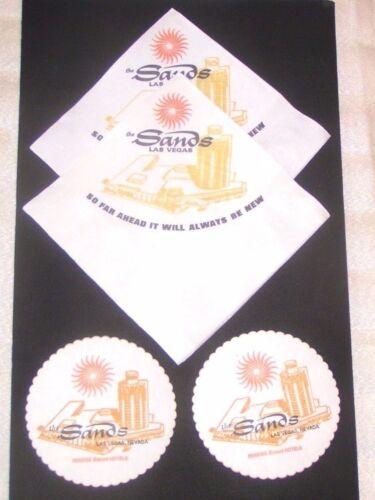 Sands Hotel Las Vegas 2 Napkins & 4 Coasters Rat Pack Vintage 1973 New Condition