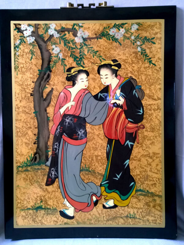 Chinese Oriental Japanise Lacquer Hand Painting Art Picture Wall Decor Geisha