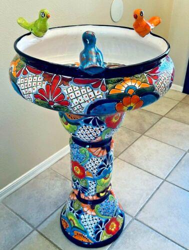 "Talavera Mexican Art Bird Bath Pottery Birdbath X Large 31"" Folk Art Pedestal"