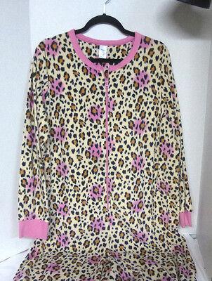 Pink Cheetah One Piece Jumpsuit Pajamas Zip Up Lounge House Sleep Wear - Cheetah Jumpsuit Costume