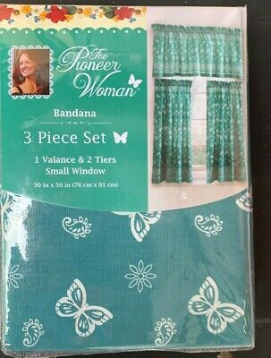 "New, The Pioneer Woman Bandana 3pc Kitchen Curtain And Valance Set, 30""x36"" Teal"