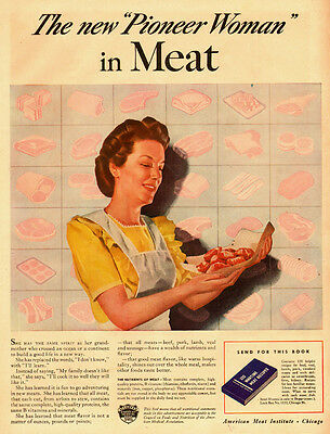 1949 vintage AD, American Meat Institute 40s housewife Art free bonus Ad  070514