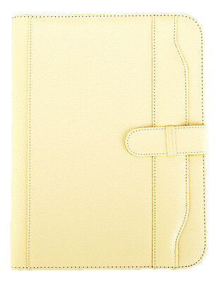 A4 Executive Conference Folder Portfolio With Closure Belt Ivory Cream Cl-663cr
