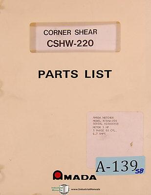 Amada Cshw-220 Corner Shear Operations Parts Schematics Manual