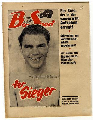 "Orig. ""Box-Sport"" Nr 821, Sensationsmeldung Schmeling besiegt Joe Louis von 1936"