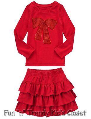 NWT Gymboree WILD FOR HORSES Girls Sz 4 5 Skirt Skort Shirt Top Holiday 2-PC SET